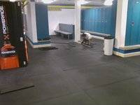 New rubberized flooring was installed in the boys varsity locker room - tile is being repaired and replaced in the girls varsity locker room.