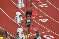 Allyson Felix getting ready to run women
